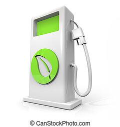 blad, -, gas pumpa, grön, drivmedel, alternativ