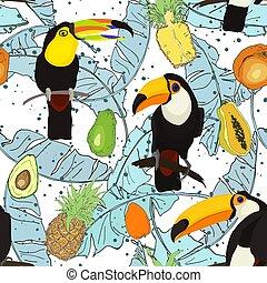 bladen, fågel, mönster, tukan, seamless