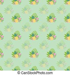 bladen, vektor, mönster, ananas, tropisk, palm, flowers., bakgrund.