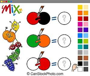 blanda, färger, ungar vilt