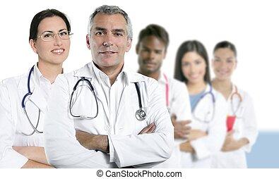 blandras, läkare, lag, rad, expertis, sköta