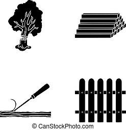 block, symbol, ved, vektor, kollektion, loggar, fence., mejsel, virke, svart, stil, ikonen, sätta, web., illustration, stack, lufsa