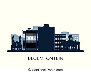 bloemfontein, monokrom, horisont, silhouette.
