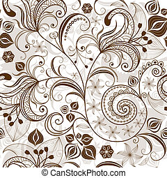 blom- mönstra, repeterande, white-brown