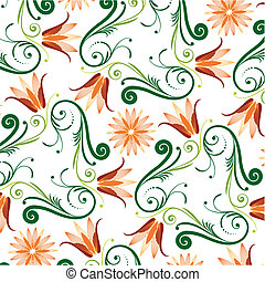 blom- mönstra, vit fond