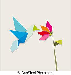 blomma, kolibri, origami, vit