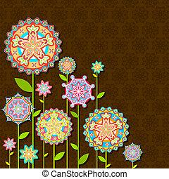 blomma, retro, färgrik