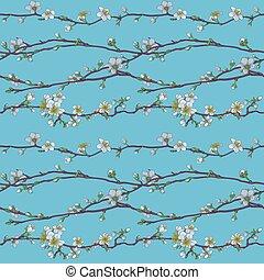 blomma, sakura, blomma, mönster, körsbär, japansk