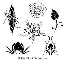 blomma, tatuera, mönster