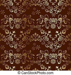 blommig, brun, seamless, mönster
