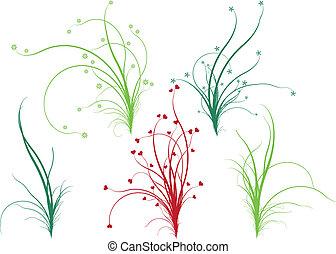 blommig, gräs, vektor