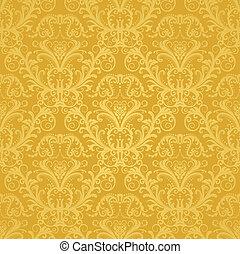 blommig, gyllene, tapet, lyxvara