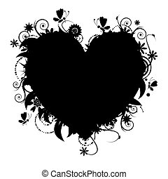blommig, hjärta gestalta, design, din