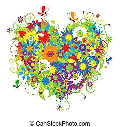 blommig, hjärta, kärlek, form
