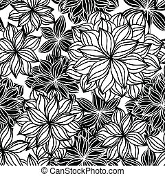 blommig, klotter, seamless, mönster