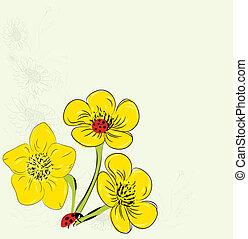blommig, kort