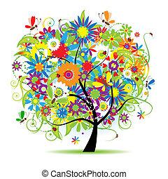 blommig, vacker, träd