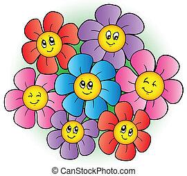 blomningen, grupp, tecknad film
