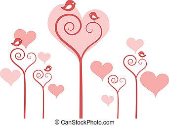 blomningen, hjärta, vektor, fåglar