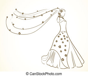 blomningen, klänning, slöja, bröllop