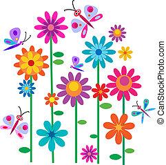 blomningen, vår, fjärilar