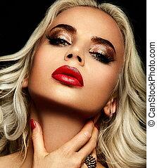 blond, kvinna, stilig, caucasian, smink, mode, glamor, ren, ung, närbild, vacker, läpp, stående, look., skinn, perfekt, hög, sexig, modell, röd, lysande
