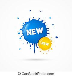 blots, blå, titel, ikonen, försäljning, gul, vektor, färsk
