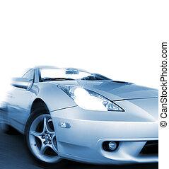 blue), sportcar, isolerat, fasta, bakgrund, vit, (toned