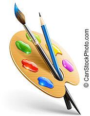 blyertspenna, palett, konst, målarfärg borsta, redskapen, teckning
