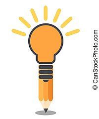 blyertspenna, vertikal, lätt, concept., idé, skapande, oriented, isolerat, bulb.