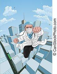 bok, fantastisk landgångssandwich, superhero, flygning, komiker, läkare