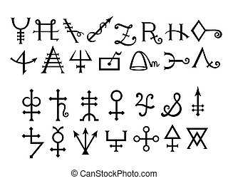 bok, medeltida, alchemical, magi, grimoire, undertecknar