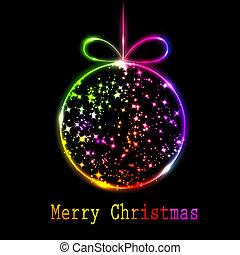 boll, abstrakt, flerfärgad, svart fond, jul