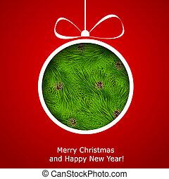 boll, cutted, abstrakt, papper, bakgrund, jul, röd