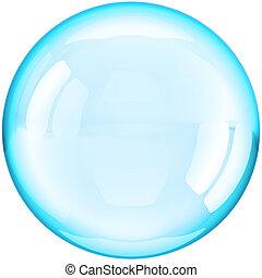 boll, färgad, vatten, cyan, bubbla, tvål
