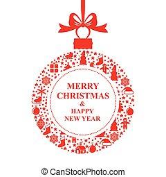 boll, hälsning, julkort, röd