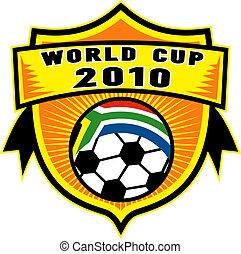 boll, skydda, kopp, insida, afrika, flagga, republik, värld, fotboll, 2010, syd, ikon