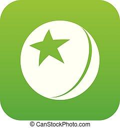 boll, stjärna, vektor, grön, glatt, ikon