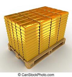bommar för, pallet., lott, guld