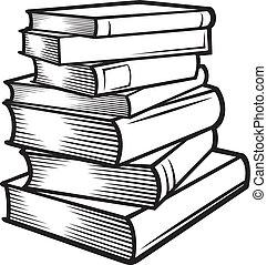 (books, stacked), böcker, stack