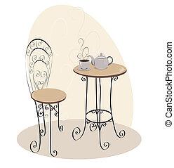 bord, cafe, fransk