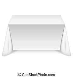 bord, vit, bordduk, rektangulär