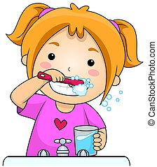 borstning, unge, tänder