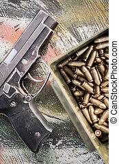 boxas, ammunition, synhåll, topp, bord, gevär