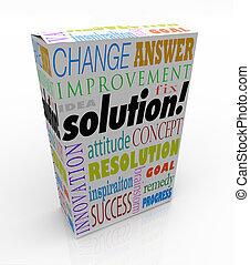 boxas, produkt, av, hylla, lösning, idé, svar, färsk