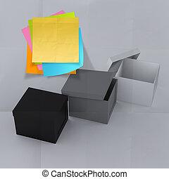 boxas, skrynkligt, begrepp, tänkande, klistrig anteckning, utanför, papper
