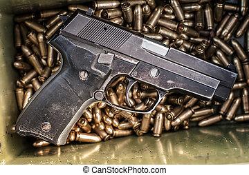 boxas, topp, gevär, bord, ammunition, synhåll