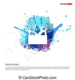 boxas, verktyg, -, vattenfärg, bakgrund, ikon