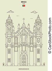 braga, congregados, gränsmärke, basilika, portugal., ikon