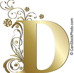 brev, d, guld, huvudstad